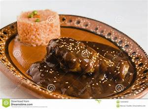 Mole Poblano With Chicken And Rice Is Mexican Food In ...