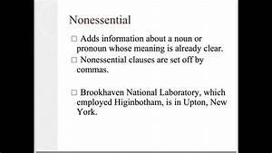 Essential Vs Nonessential Clauses