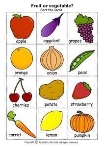 fruit  vegetable full color copy worksheet  st