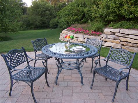 tempered glass patio table top oakland living cast aluminum 5 pc patio dining set w 48