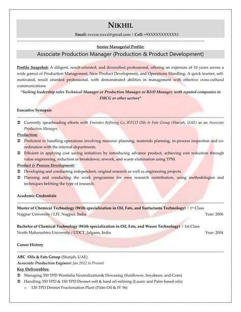 Production Resume by Production Sle Resumes Resume Format Templates