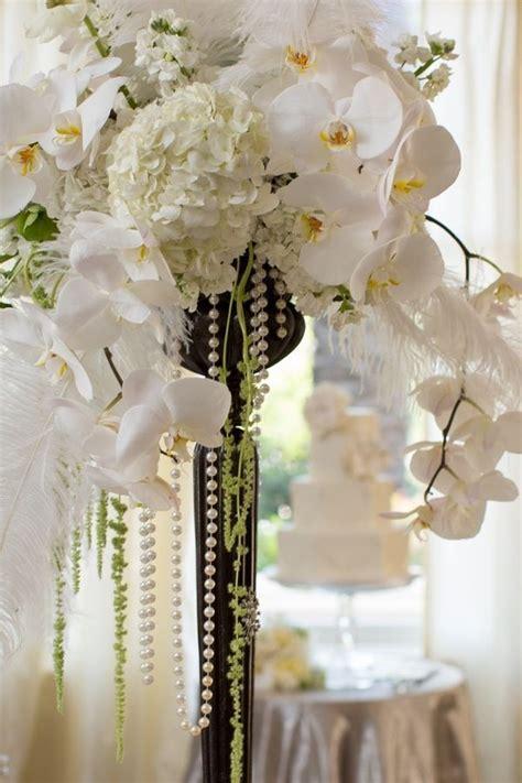 Great Gatsby inspired arrangement Art deco wedding