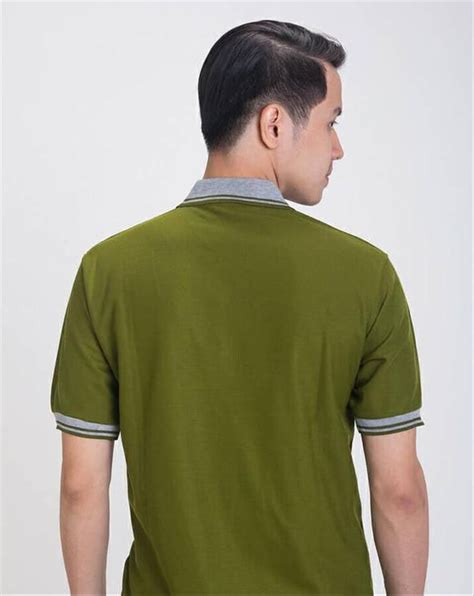 jual baju kaos kerah polo shirt pria green army di lapak