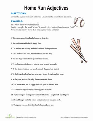 find the adjectives worksheet education