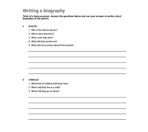 biography templates   excel  premium