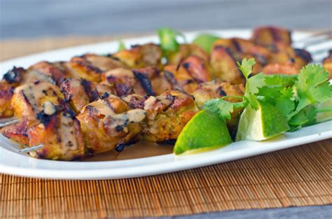 grilled thai curry chicken skewers  coconut peanut