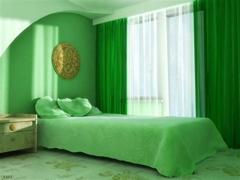 Green And White Color Bedroom Curtain