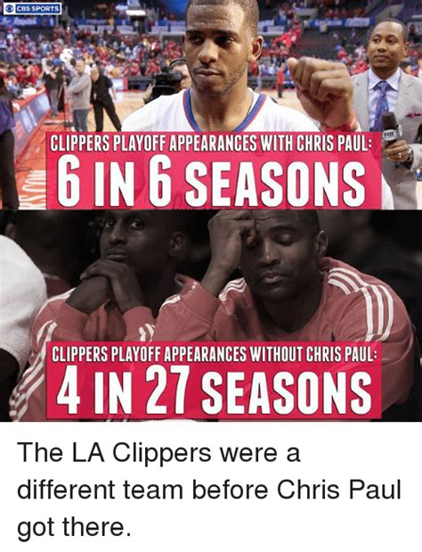 Clippers Memes - cbs sports clippers playoff appearances with chris paul 6 in 6 seasons clippers playoff