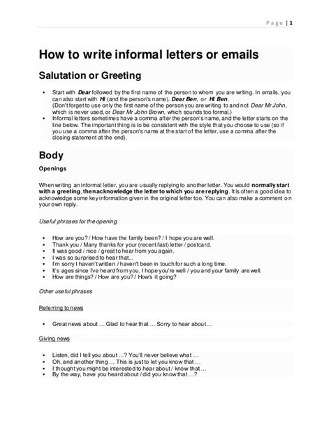write informal letters  emails