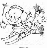 Cartoon Baby Skiing Coloring Vector Outline Ski Lodge Template Pages Leishman Ron sketch template