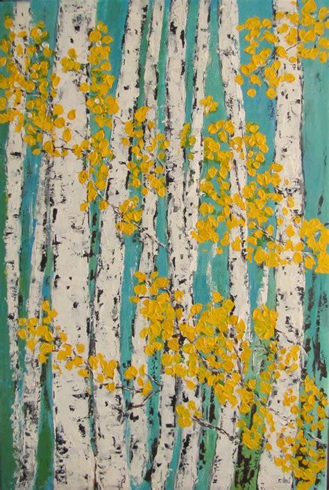 birch aspen trees acrylic painting original art  canvas