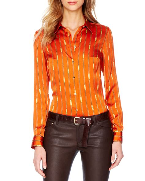 orange blouses orange satin blouse silk pintuck blouse
