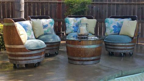 oak wine barrel indooroutdoor patio set ebay