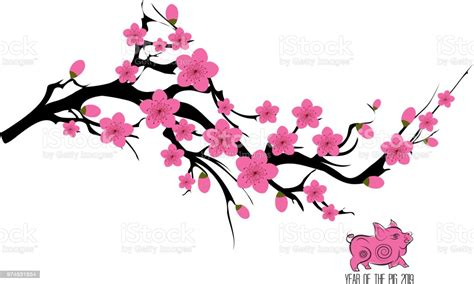 Japan Cherry Blossom Branching Tree Vector Illustration