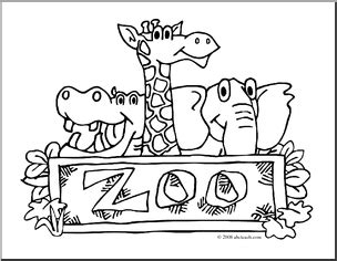 clip art zoo graphic coloring page preview  zoo