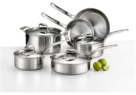 lagostina martellata hammered stainless steel  pc set contemporary cookware sets  chef