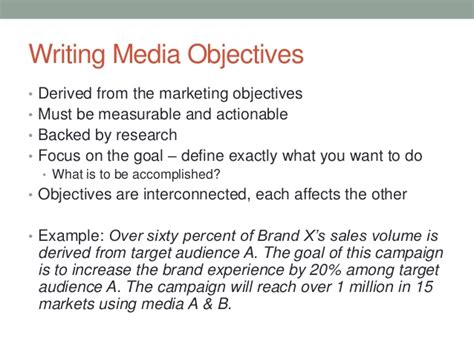 media objectives and strategies 1 30 13