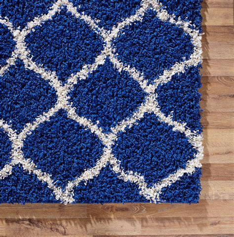 blue modern rug modern royal blue trellis shaggy carpet contemporary