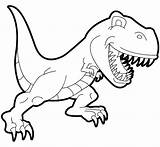 Dinosaurs Coloring Cartoon Tyrannosaur Children Rex sketch template