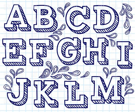 hand drawn font shaded letters and decorations 29198 download royalty free vector clipart
