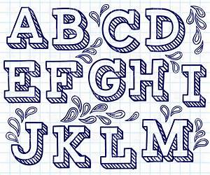 Hand drawn font - shaded letters and decorations, 29198 ...