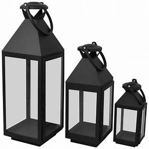 Laterne Schwarz Metall : 3er set laternen windlichter h55 5 40 25cm metall glas gartenlaterne schwarz ~ Markanthonyermac.com Haus und Dekorationen