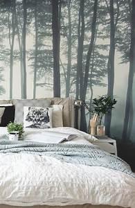 Poster Mural Nature : simple deco de chambre avec grand poster mural papier peint chambre adulte aux motifs arbres ~ Teatrodelosmanantiales.com Idées de Décoration