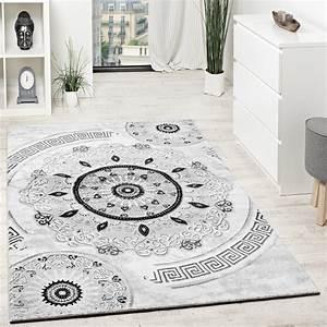 Teppich Schwarz Weiß Grau : designer teppich mit glitzergarn kurzflor gemustert grau schwarz anthrazit wei wohn und ~ Eleganceandgraceweddings.com Haus und Dekorationen