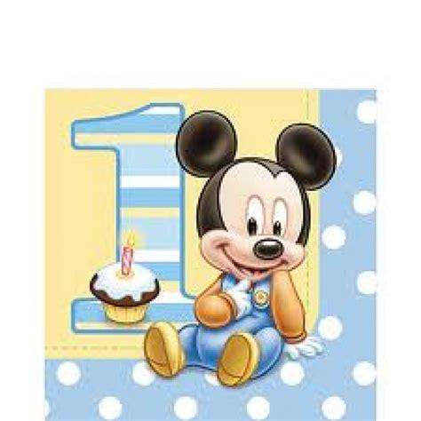 serviette anniversaire gar 231 on mickey 1 an pas cher