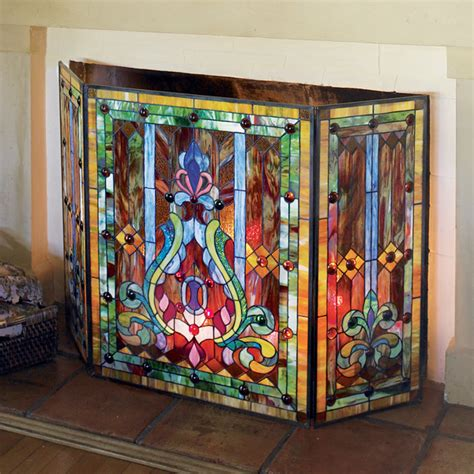 Stained Glass Fireplace Doors stained glass fire screen at signals pn7512