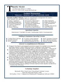 resume template for facility manager resume sles professional facilities manager resume