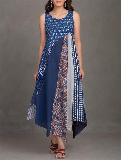 indigo block printed thread embroidered upcycled organic