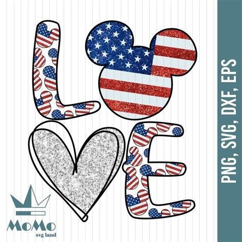 4th of july wouldn't be complete without a cute shirt to wear during all the action! Love Svg, Mickey Svg, Disney Svg, American Flag, 4th Of ...