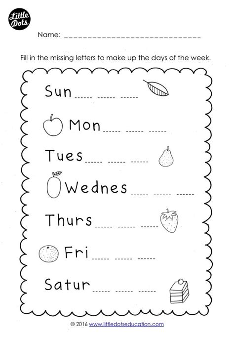 preschool kindergarten days   week worksheet