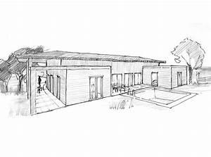 Plan Maison U : plan maison en u de plain pied ooreka ~ Dallasstarsshop.com Idées de Décoration