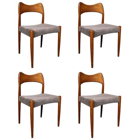 four arne hovmand teak dining room chairs for