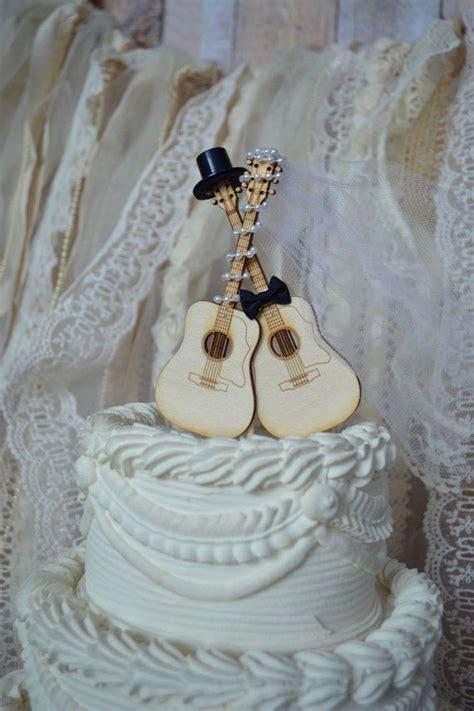 guitar wedding cake topper musician ivory veil ivory