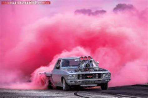 highway max coloured smoke burnout drift tyre pink