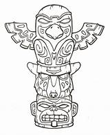 Totem Pole Coloring Pages Poles Printable Native American Drawing Animal Craft Tiki Tattoo Bestcoloringpagesforkids sketch template