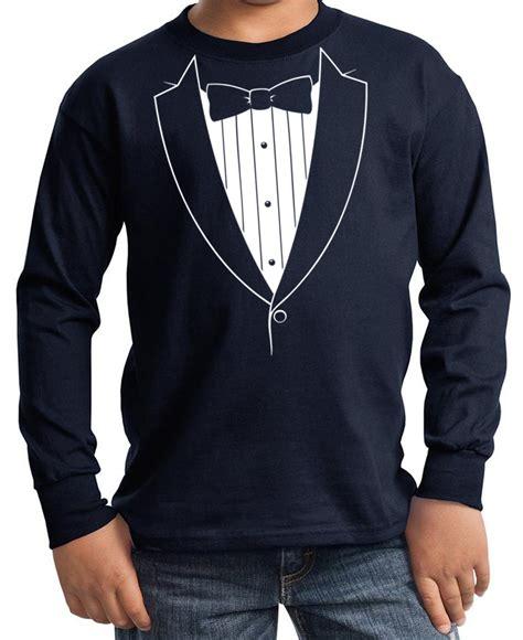 kids shirt basic white tuxedo long sleeve tee  shirt