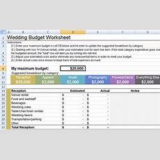 Wedding Budget Worksheet  Little Wedding Guide