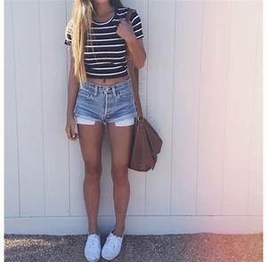 Shorts: denim shorts, crop tops, striped top, cute, vans ...