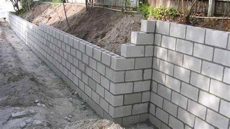 concrete block retaining wall construction youtube