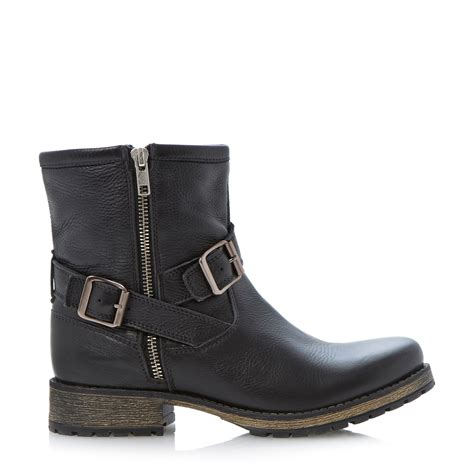 biker ankle boots dune promiss buckle biker ankle boot in black black