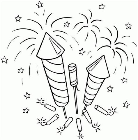 july coloring pages  fireworks printable