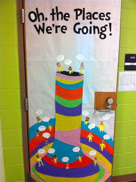 Dr Seuss Door Decorating Ideas by Quot Oh The Places We Re Going Quot Dr Seuss Door Decor Bulletin