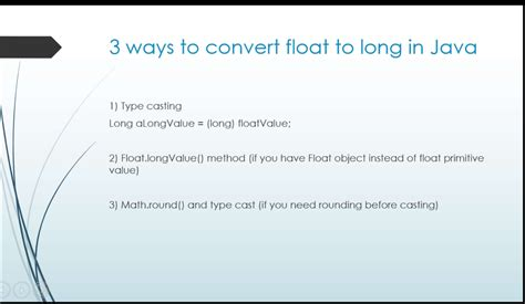 how to convert float to long or int in java
