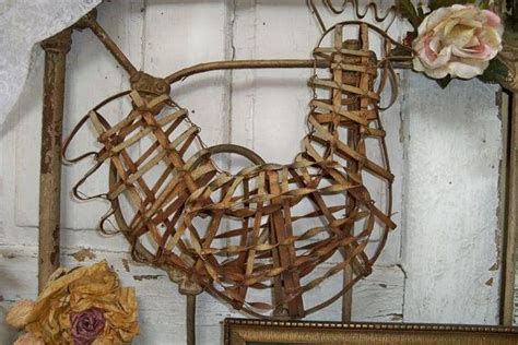 Large Rusty Metal Rooster Wire Cage Style Farmhouse Shabby