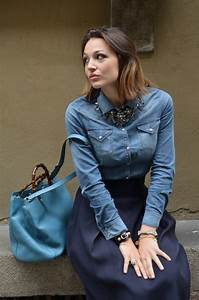 Gonna a ruota e camicia di jeans - Melissa Cabrini