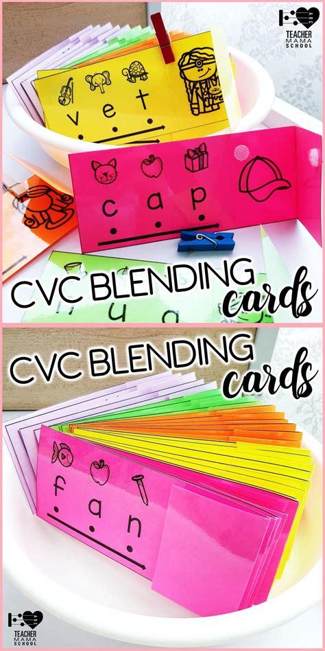 cvc words blending cards  images cvc words